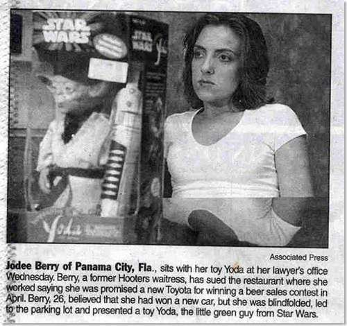 WOW..I would be let down for sure, but I don,t think I would go this far...oh well!    She thought she'd won a Toyota, was she surprised with her Toy yoda.