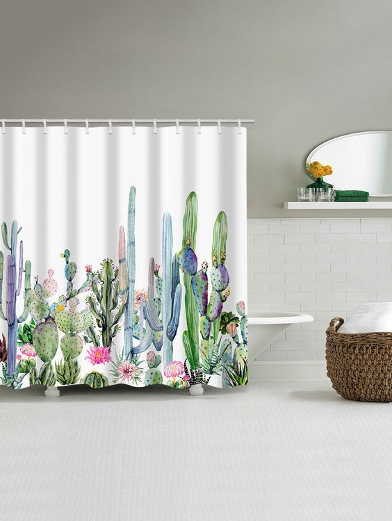 Green Plants Cactus Flowers Print Shower Curtain With Images