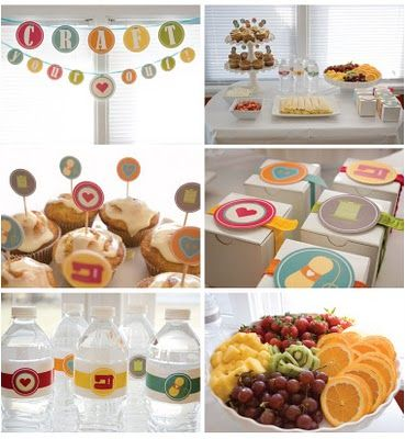 Craft Party idea. I'm hosting one soon but I don't think I'll go all out like this LOL! Looks super cute & fun though!