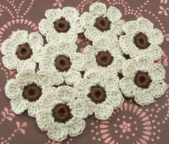 Crocheted Flowers  Brown Natural by FineThreads on Etsy