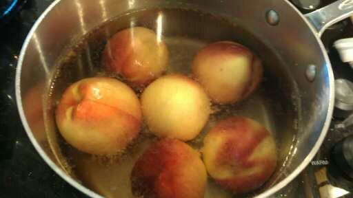 PEELING PEACHES ... The best way to peel a peach is to submerge them in boiling water for about 30 seconds. Remove to a water bath and then they easily slip out of their skins.