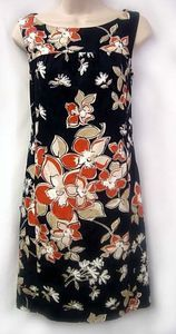 Ann Taylor Shift Dress Orange Navy Blue Cotton Floral Jacquard