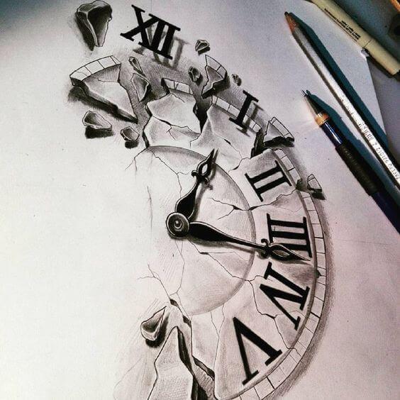 Tattoo Drawings For Men Clock Tattoo Design Tattoo Sketches Broken Clock Tattoo