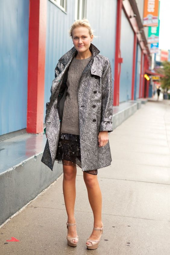 Refinery 29 - Fashion Week Street Style -  love the coat and mix of fabrics and patterns!