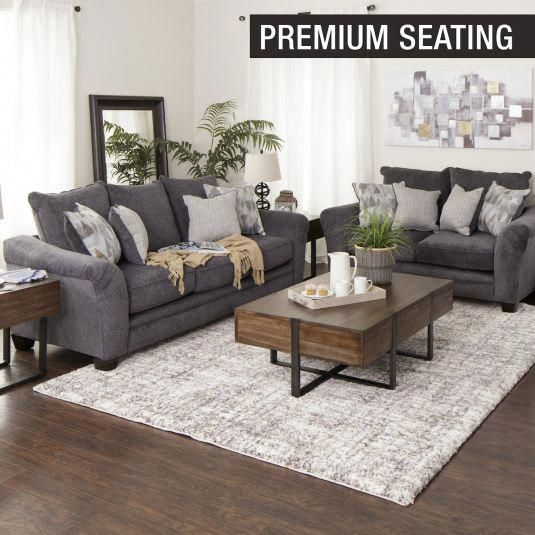 Albany Sofa Love Jerome S Furniture Livingroomdesign In 2020 Living Room Decor Apartment Dark Grey Couch Living Room Farm House Living Room