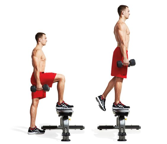 Dumbbell Step-up: Stand behind a bench or other elevated ...