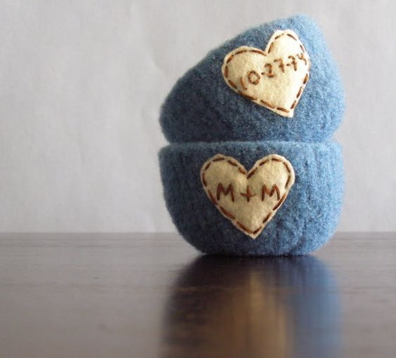 Personalized felted wool bowls, would be great for anniversary, wedding, or valentines!