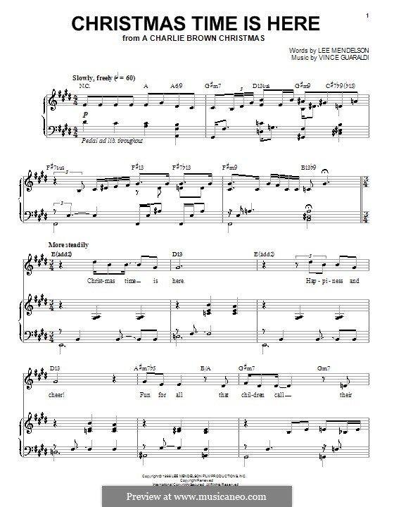 Music Sheet: Vince Guaraldi Sheet Music Christmas Time Is Here