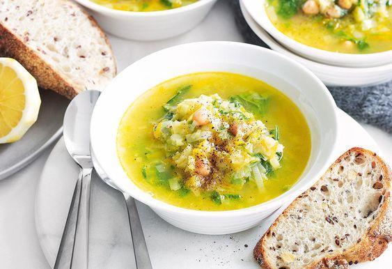 Kichererbsen-Lauch-Suppe mit Spinat