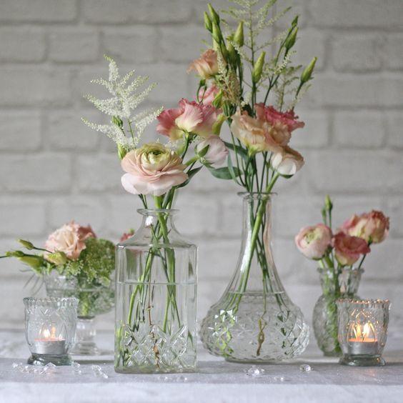 Pressed Glass Decanter Wedding Centrepiece Vase