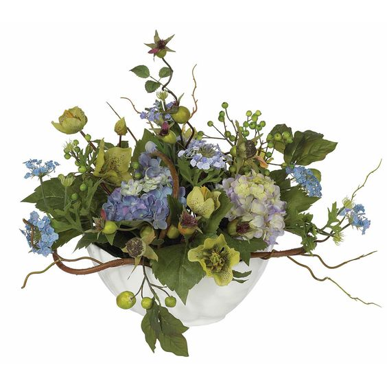 Hydrangea Centerpiece Silk Flower Arrangment: