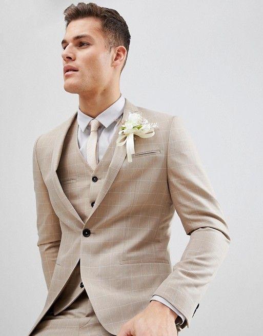 Noak | Noak skinny wedding suit jacket in windowpane check