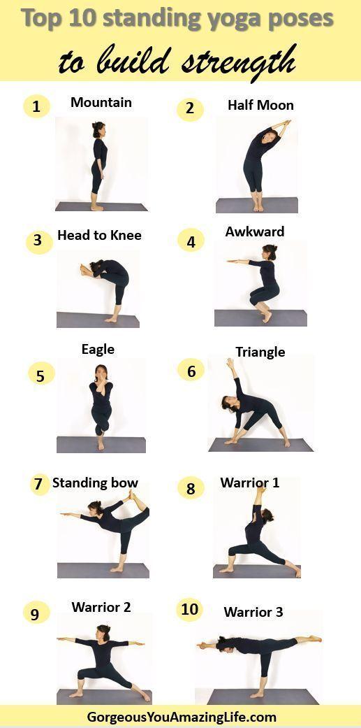 Fugen Sie Diese 10 Yoga Ubungen Zu Ihrem Tagesablauf Hinzu Um Kraft Aufzubauen Das Gleichgewicht Zu Verbess Standing Yoga Poses Standing Yoga Easy Yoga Poses