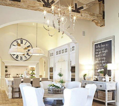 Love this rustic kitchen/dining area: