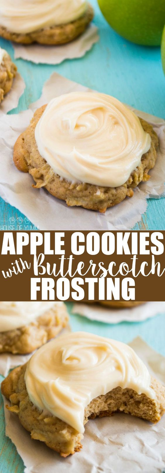 Soft & thick Apple Cookies.  Topped with a sweet, fluffy cream cheese butterscotch frosting.  These are a MUST make!
