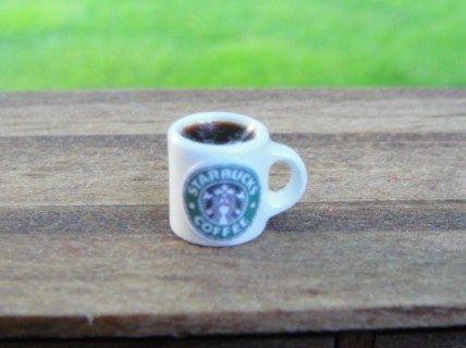 KITCHEN: Porcelain Mug with Starbucks Label & Black Coffee Inside