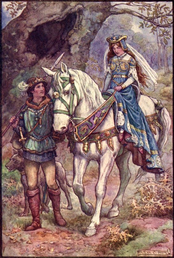Frank Cheyne Papé ~ The Princess Who Despised All Men~The Diamond Fairy Book~ c1911 ~via Upon the back of his noble steed the Princegalla...