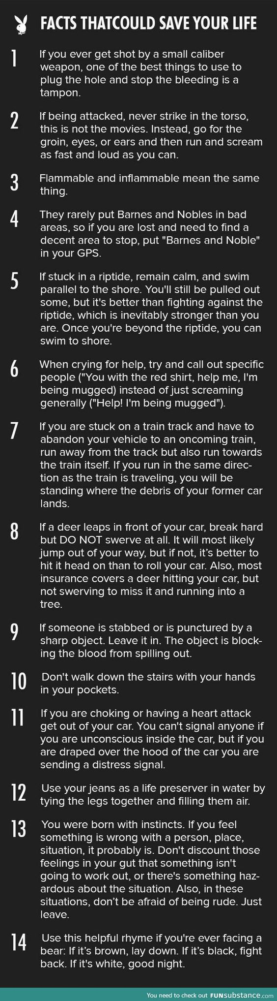 14 tips that could save your life - Not so sure about the Barnes and Noble tip, but the rest seem pretty solid. Quite the list of scenarios, they sure covered all the bases! #Safety #Tips