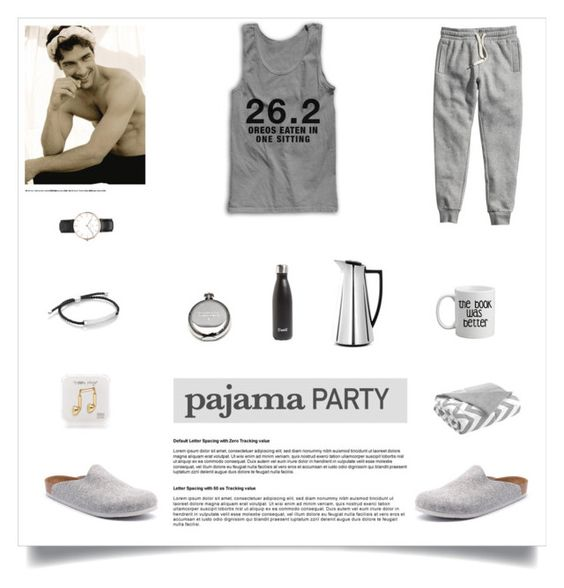 """""""Men Pajama Party"""" by madeinmalaysia ❤ liked on Polyvore featuring Intelligent Design, Monica Vinader, Daniel Wellington, S'well, Rosendahl, Izola, Birkenstock, Happy Plugs and H&M"""
