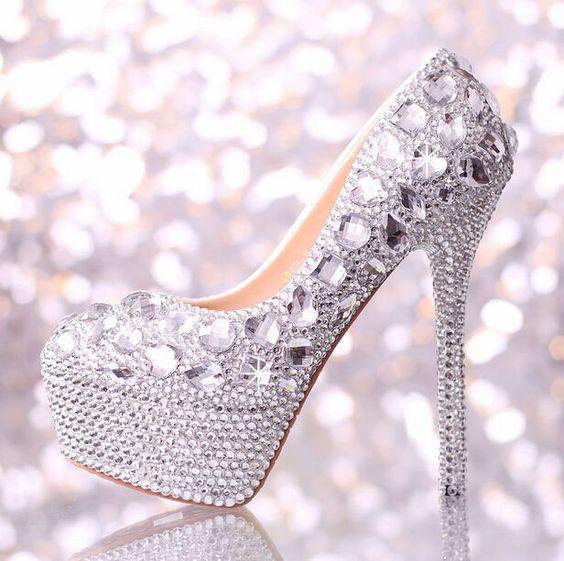 Para Mujer Brillante Hermoso Hecho A Mano diamantes de imitación de brillantes Boda Zapatos Tacones Altos in Ropa, calzado y accesorios, Calzado para mujer, Tacones   eBay