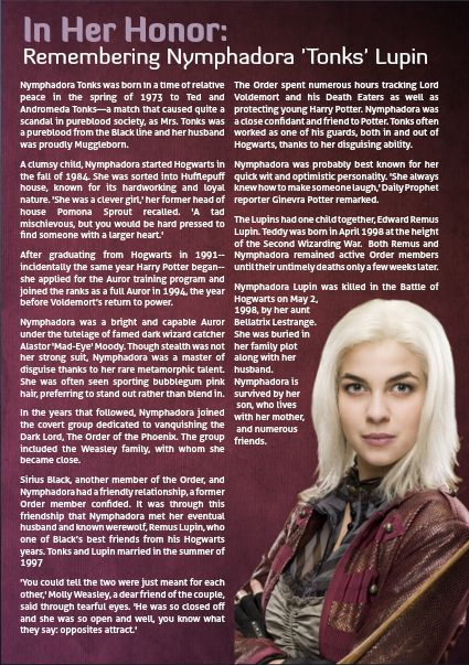 Witch Weekly Celebrates International Women's Day - Nymphadora 'Tonks' LupinDecember Issue Witch Weekly