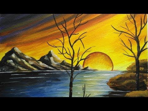 43 How To Paint A Beautiful Scenery Sunset Acrylic Landscape Painting Youtube Landscape Paintings Acrylic Sunset Painting Drawing Scenery