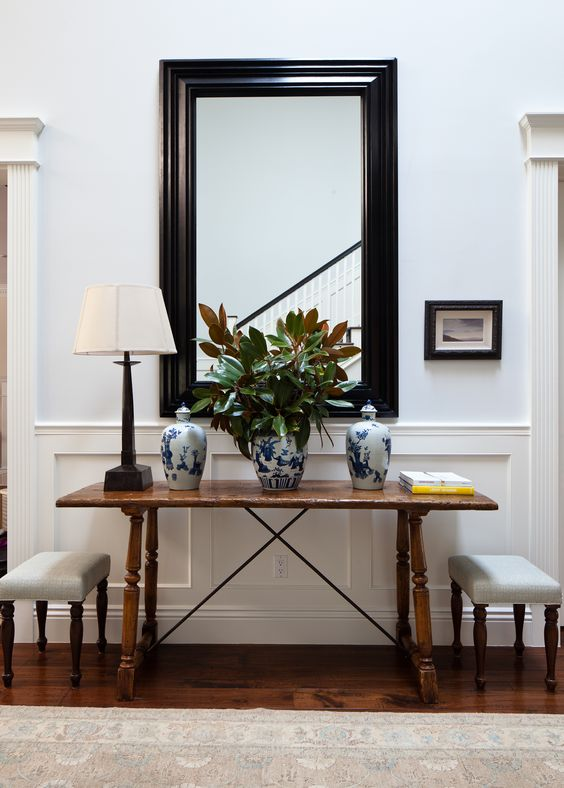 Beautiful Entries Entryway Foyer Love The Mirror Table Amp 2 Upholstered Small Benches