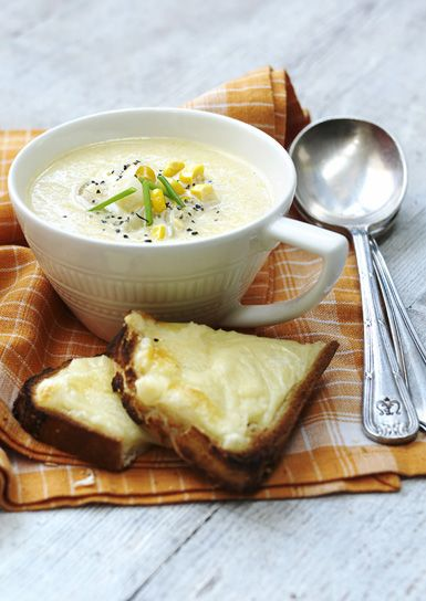 This creamy sweetcorn soup is perfect for a weekend lunch, serve with slices of cheese on toast