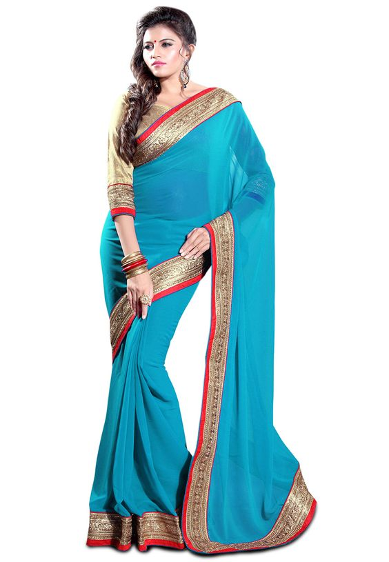 Turquoise Faux Georgette Saree with Blouse: SBH1057