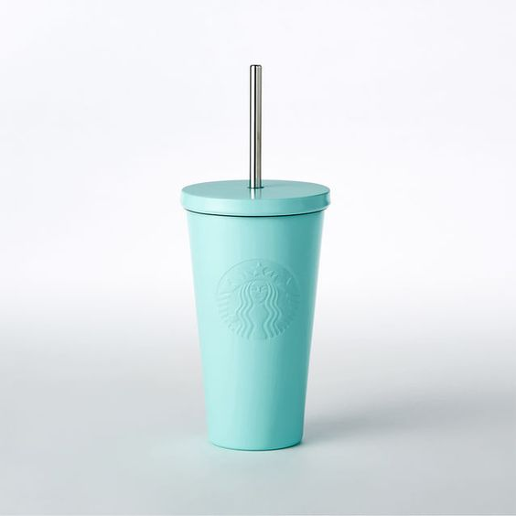 An insulated stainless steel Cold Cup in fresh mint green, with  embossed Siren logo and stainless steel straw.