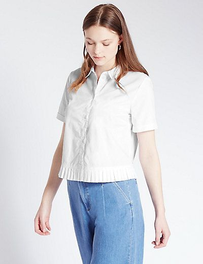Pure Cotton Tailored Fit Pleated Hem Shirt | M&S