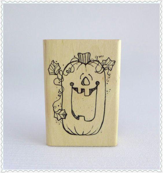 Vintage Rubber Stamp Pumpkin Jack o Lantern by RaindropVintageShop