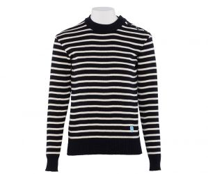 ORCIVAL - 100% pure wool sweater Navy / Ecru