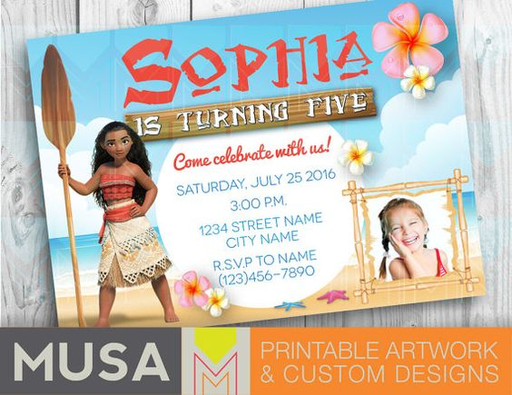 moana invitation template free - moana digital party invitation printable party