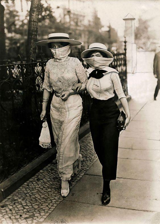 1918 mensen droegen toen ook mondmaskers voor de griep