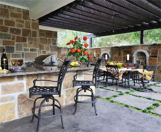 Outdoor living tile and rustic on pinterest for Country outdoor kitchen