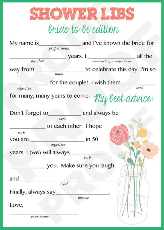Shower games bridal shower games and mad libs on pinterest for Non traditional bridal shower games