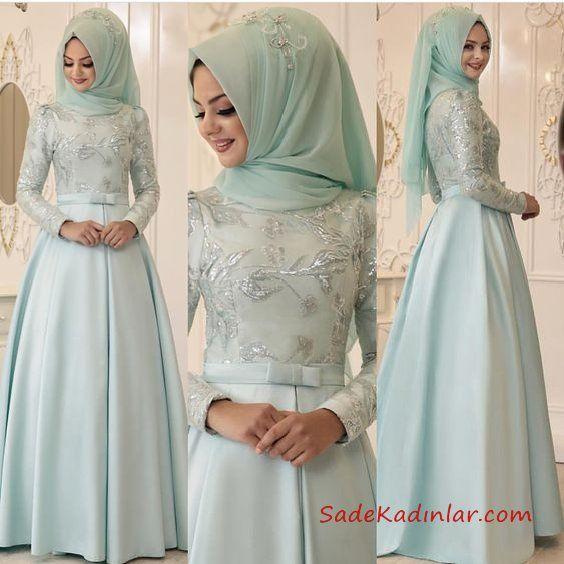 2020 Tesettur Abiye Modelleri Su Yesili Saten Uzun Klos Etekli Pul Islemeli Islami Giyim Kiyafet Ziyafet Elbiseler
