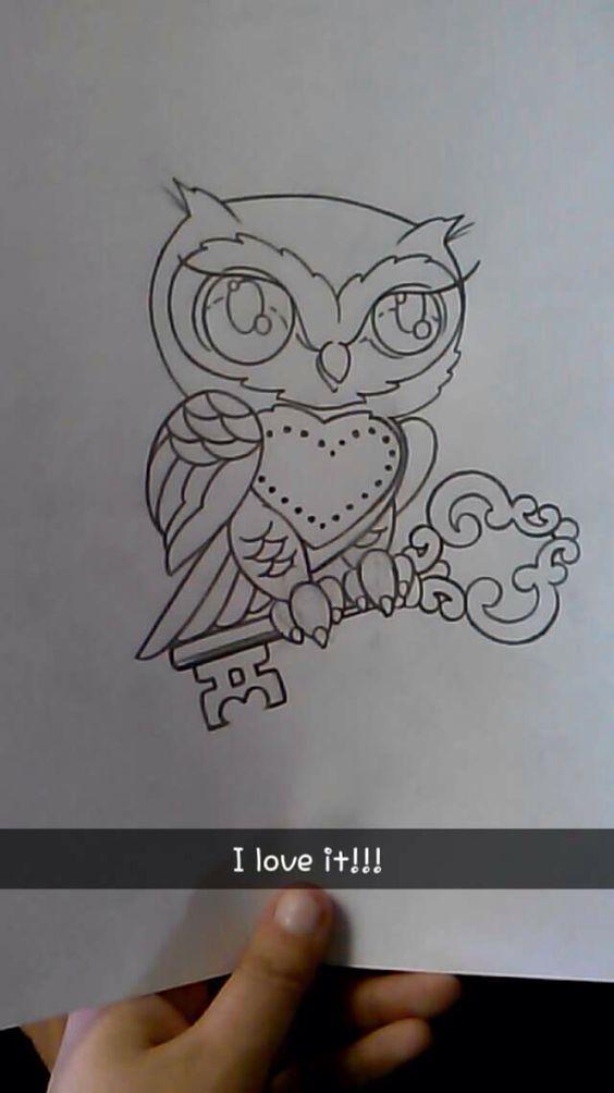 My tattoo design. Owl & key