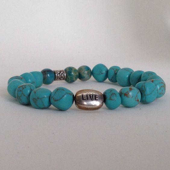 """Live"" turquoise semi precious stone bracelet by Bestowed Beads"
