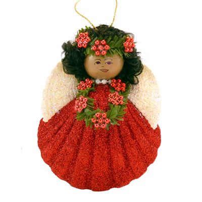 Red Glittered Face Angel Ornament
