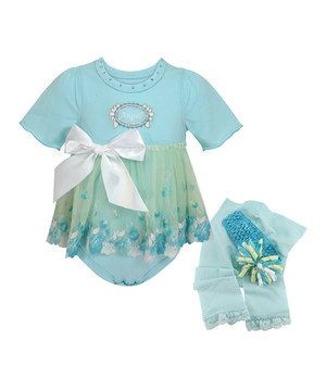 Look what I found on #zulily! Aqua 'Angel' Skirted Bodysuit Set by Stephan Baby #zulilyfinds