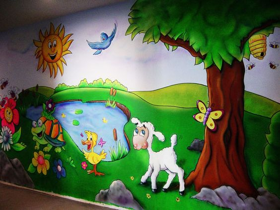 Church nursery church and nurseries on pinterest for Church nursery mural