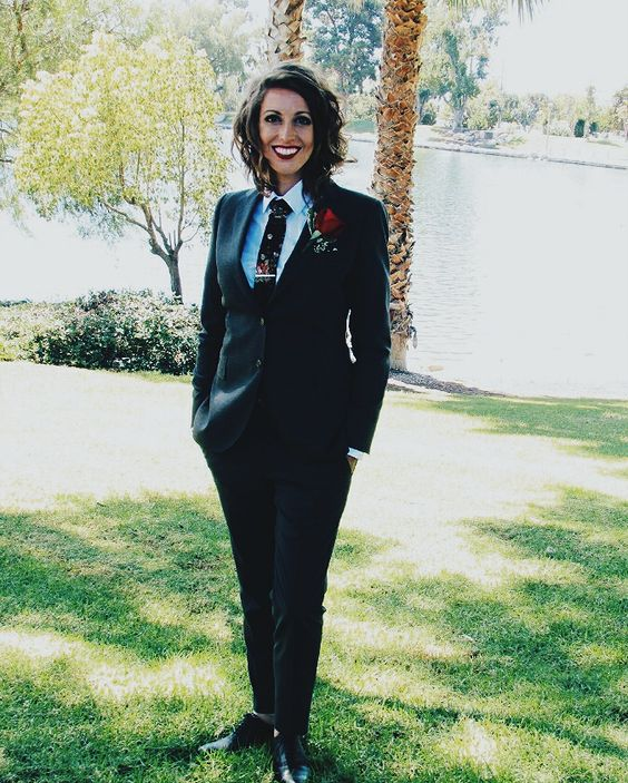 Beautiful girl in a black linen floral tie from mrFarneyatelier