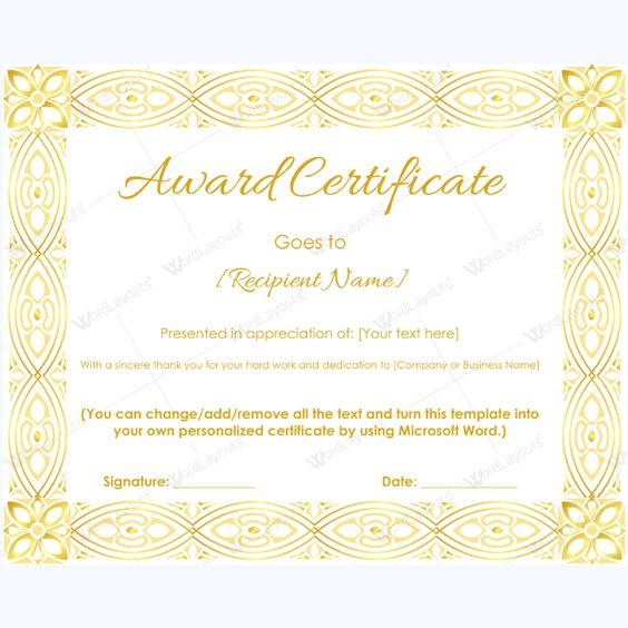 Simple Award Certificate Template #awardforemployee #award - microsoft word award template