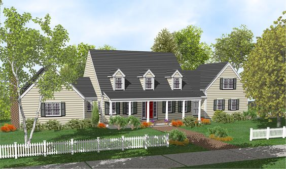 Cape cod home plan full front porch house ideas for Cape cod homes with front porches