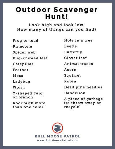 Scavenger Hunt List >> Camping Scavenger Hunt List Ideas Camping Scavenger Hunts