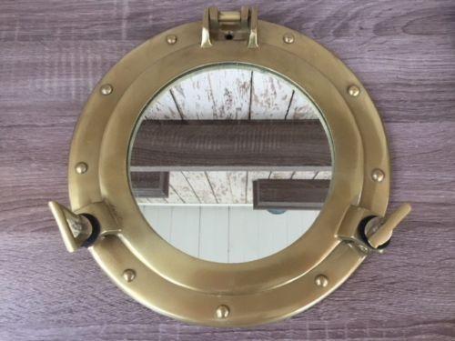 """11/"""" Porthole Mirror Antique Finish Cabin Porthole~ Ship Porthole ~Nautical Decor"""