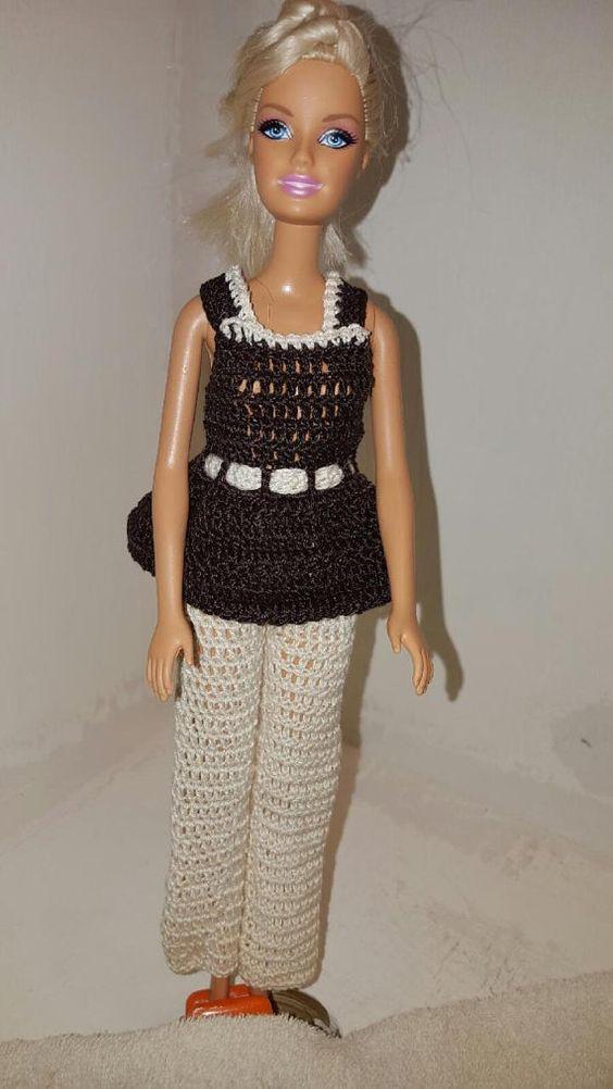 Crochet Barbie Dress Fashion Doll Crocheted by GrandmasGalleria ♡
