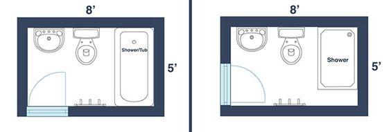 Bathroom and design on pinterest for Bathroom remodel 8x5